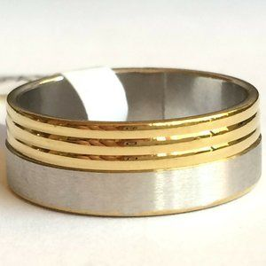 Jewelry - Silver Gold Stainless Steel Ring Size 8 13 Band